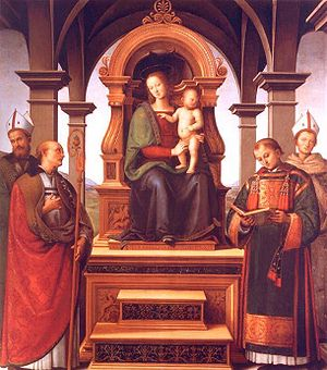 Constantius of Perugia - Virgin Mary and Child, with Saints Louis of Toulouse, Lawrence, Herculanus of Brescia, and Constantius of Perugia.  Pietro Perugino, 1497.