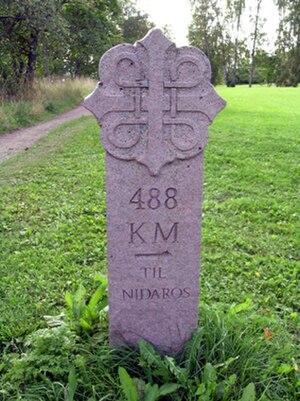 Pilgrim's Route - Kilometer post for Pilegrimsleden in Hamar