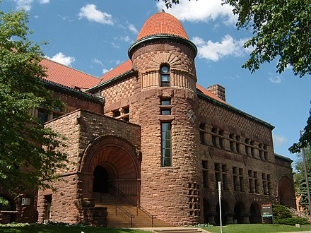 The Richardsonian Romanesque Pillsbury Hall (1889) is one of the oldest buildings on the University of Minnesota Minneapolis campus. Pillsbury Hall.jpg