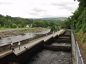 Pitlochry fish ladder - The fish ladder in Pitlochry, showing several of the intermediate pools which the salmon use for travelling upstream. The River Tummel can be seen flowing next to it.
