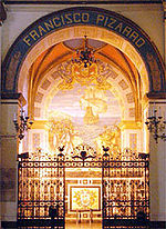 Pizarro's coffin in the Lima Cathedral