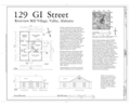 Plan and Elevations - 129 GI Street (House), 129 GI Street, Valley, Chambers County, AL HAER AL-178 (sheet 1 of 1).png
