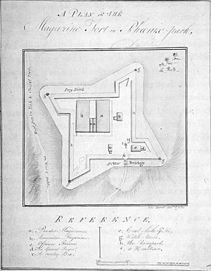 "Magazine Fort - 1793 plan of the fort referencing ""a Howitzer"" defending the gate"