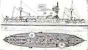 Drawing of the Maine showing its echeloned turret placement