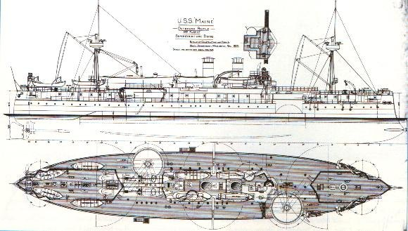 Plan of the first battleship Maine