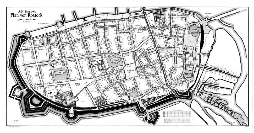 Plan von Rostock gez 1780-1790 J.M. von Tarnows