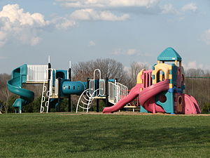 Two playground sets at Hudson Springs Park in ...