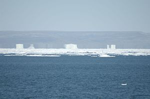 Milne Land - A superior mirage of sea ice and land near Milne Land.