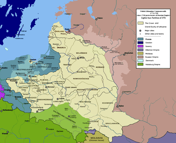 The Polish-Lithuanian Commonwealth after the First Partition, as a protectorate of the Russian Empire (1773-89) Polish-Lithuanian Commonwealth 1773-1789.PNG