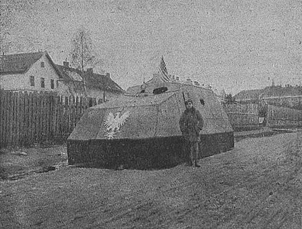 Pilsudski improvised armored car, 1919, named after Pilsudski Polski automobil pancerny z obrony Lwowa 1918-19.JPG
