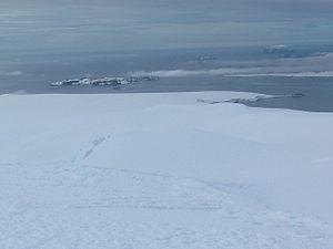 Zverino Island - Zverino Island (in the background, on the left) from Miziya Peak, Livingston Island