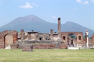 Eruption of Mount Vesuvius in 79 - Pompeii, with Vesuvius towering above