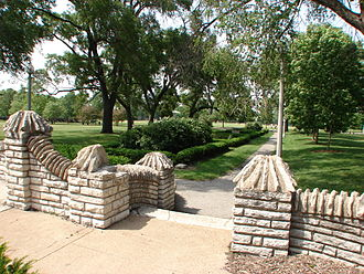 Flagstone - Portage Park in Chicago is known for its flagstone decorations.