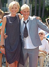 Portia de Rossi and Ellen DeGeneres smiling at an event.