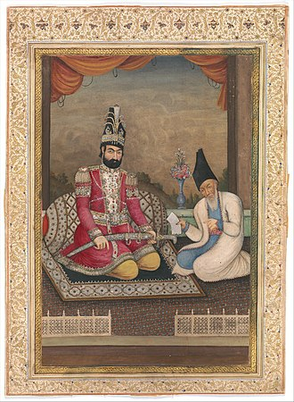Haji Mirza Aqasi - Portrait of Muhammad Shah Qajar and his Vizier Haj Mirza Aghasi, second quarter of the nineteenth century, Ink, opaque watercolor and gold on paper, Iran, collection of the Metropolitan Museum of Art.