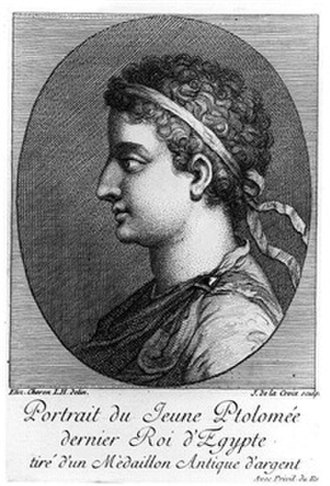 Ptolemy XIII Theos Philopator - An engraving depicting the Ptolemaic ruler Ptolemy XIII Theos Philopator of Egypt by French artist Élisabeth Sophie Chéron (1648–1711), published c. 1736; the portrait is based on a medallion of Ptolemy XIII dated to the 1st century BC during the Hellenistic period of antiquity.