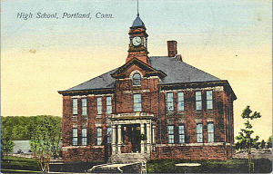 Portland, Connecticut - Central School, 1907. Originally the High School, it now houses the Town Hall and Board of Education.