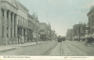 Danville, Illinois - East Main Street circa 1910