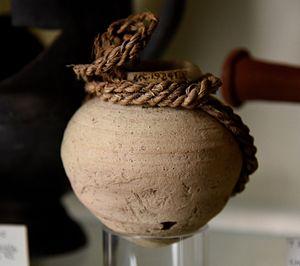 Tarkhan (Egypt) - Pottery jar, drab ware. The original loop slip is still present. Ptolemaic period. From Tarkhan (Kafr Ammar), Egypt. The Petrie Museum of Egyptian Archaeology, London