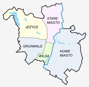 Stare Miasto, Poznań - Former division of Poznań into five districts