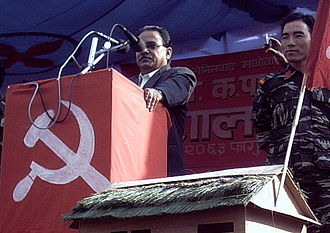 Maoism - Maoist leader Prachanda speaking at a rally in Pokhara, Nepal