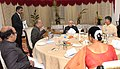 Pranab Mukherjee at a dinner hosted by the Governor of Telangana and Andhra Pradesh, Shri E.S.L. Narasimhan, in Hyderabad on June 30, 2015. The Chief Minister of Andhra Pradesh, Shri N. Chandrababu Naidu is also seen.jpg
