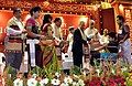 Pranab Mukherjee conferring on certificate of merit and gold medal to physically challenged student, at the 10th Convocation of Tripura Central University, at Agartala. The Governor, Tripura.jpg