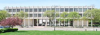 Prentis Building and DeRoy Auditorium Complex - Meyer and Anna Prentis Building. Note view of DeRoy Auditorium though walk-through.
