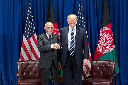 U.S. President Donald Trump with president of Afghanistan Ashraf Ghani in 2017. President Donald J. Trump and President Ashraf Ghani of Afghanistan at the United Nations General Assembly (36747065014).jpg