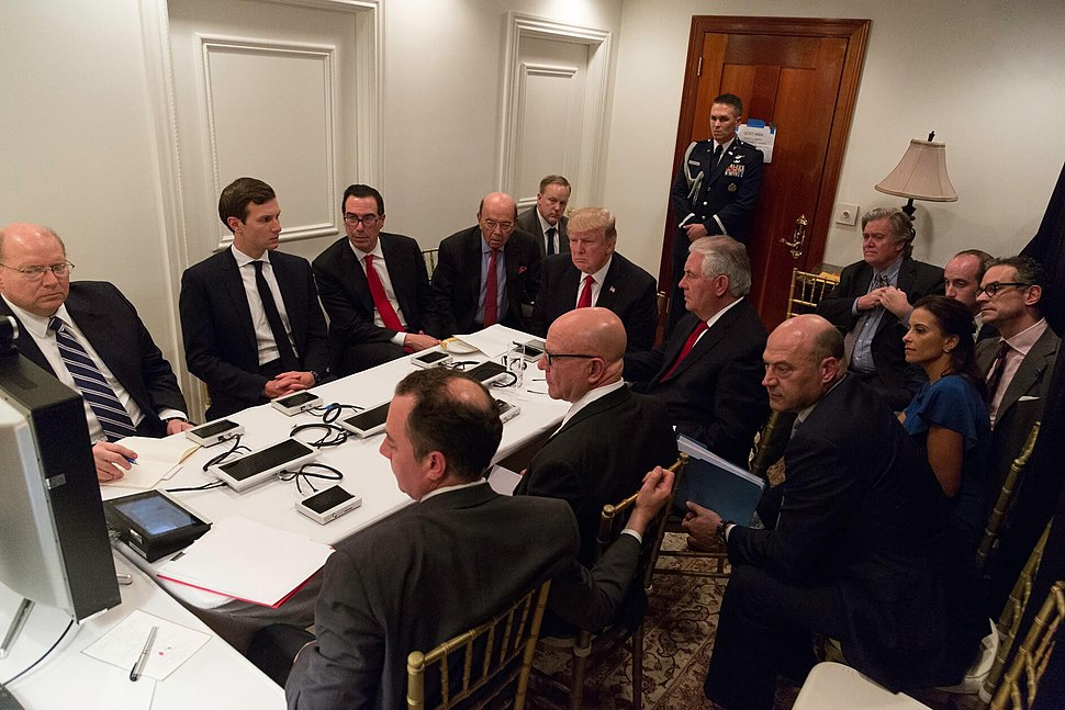 President Donald Trump receives a briefing on a military strike