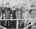 President Truman attends the Army Day parade in Washington, D. C. He is standing second from right, between two... - NARA - 199613.tif