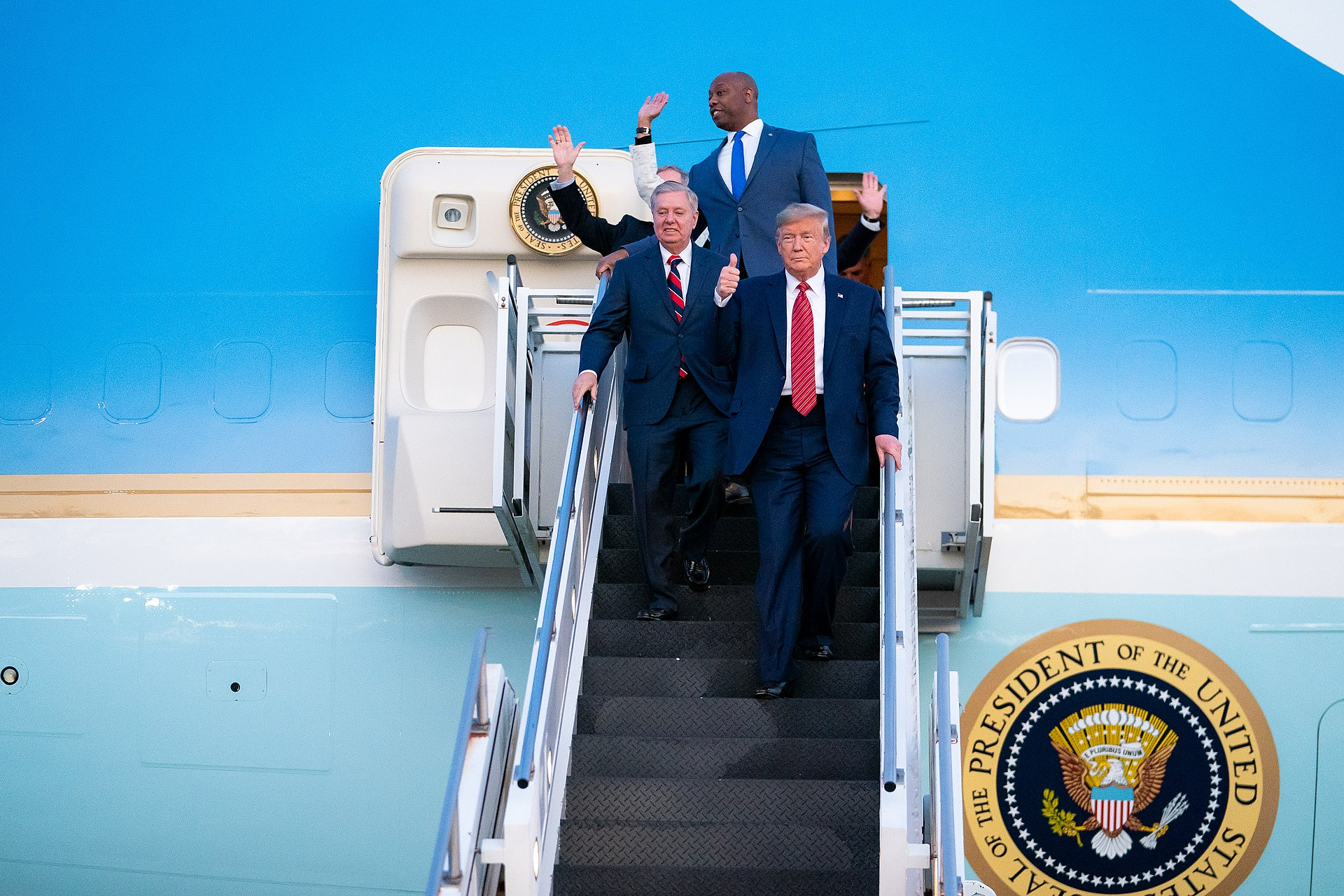 President Trump Departs for South Carolina (49608865213).jpg
