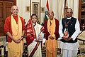 President of India Pratibha Patil with Russian Bhagavad Gita As It Is.JPG