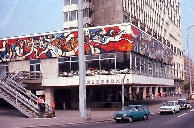 Press Cafe in East Berlin on Alexanderplatz, 1977