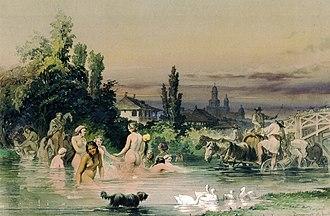 Dâmbovița River - Image: Preziosi Dâmboviţa la Bucureşti, 1868