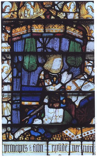 Arthur, Prince of Wales - Prince Arthur, depicted on a stained glass window at Great Malvern.