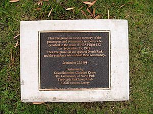 PSA Flight 182 - Plaque honoring crash victims