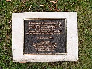 PSA Flight 182 - Plaque honoring crash victims