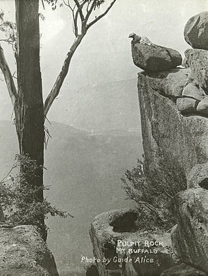 Alice Manfield - Pulpit Rock, Mount Buffalo, by Guide Alice (the figure in the photo is also thought to be Alice)