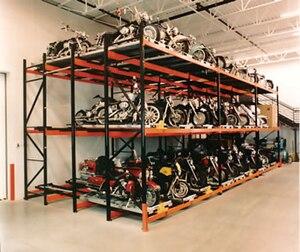 English: Push back pallet storage system desig...