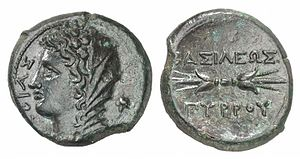 Pyrrhic War - Coin of Pyrrhus minted at Syracuse, 278 BC. Obverse: Veiled head of Phtia with oak wreath, ΦΘIAΣ (of Phtia). Reverse: Thunderbolt, BAΣIΛEΩΣ ΠΥΡΡOΥ (of King Pyrrhus).