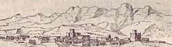 19th-century engraving of the historic Qandala castle town.