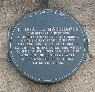 Vingtaine de la Ville - Image: Quai des Marchands plaque Jersey