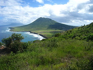 The Quill (volcano) - Looking southeast across Statia toward the Quill