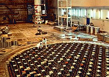 reactor hall of the rbmk-1500 at ignalina nuclear power plant, lithuania –  the upper biological shield (ubs) lies several meters below the floor of  the