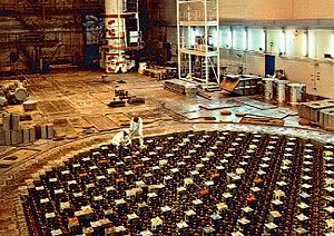 RBMK - Reactor hall of the RBMK-1500 at Ignalina Nuclear Power Plant, Lithuania – the upper biological shield (UBS) lies several meters below the floor of the reactor hall.