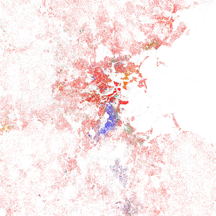 Map of racial distribution in Boston, 2010 U.S. Census. Each dot is 25 people: White, Black, Asian, Hispanic, or Other (yellow) Race and ethnicity 2010- Boston (5559894531).png