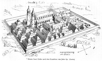 The St. Gallen monastery in the 9th century