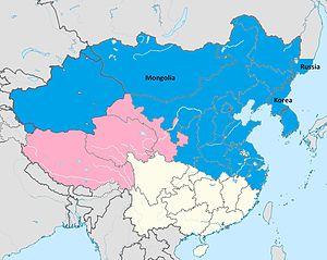 Mongolian wolf - Image: Range of Canis lupus chanco