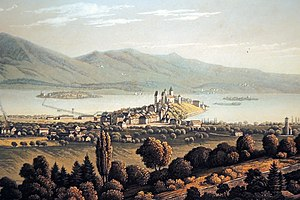 Obersee (Zürichsee) - The Seedamm area at Rapperswil and the lake bride towards Hurden in the middle, Zürichsee and the Lützelau and Ufenau islands to the left, Obersee to the right. 1835 painting by an unknown artist as seen from a location on the Meienberg hill between Jona and Rapperswil.